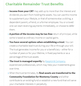 Charitable Reminer Trust Benefits